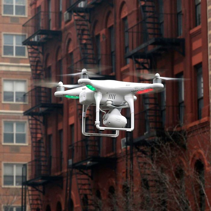 Camera drone flown by Wilson flies near the scene where two buildings were destroyed in an explosion, in the East Harlem section in New York City in this file photo