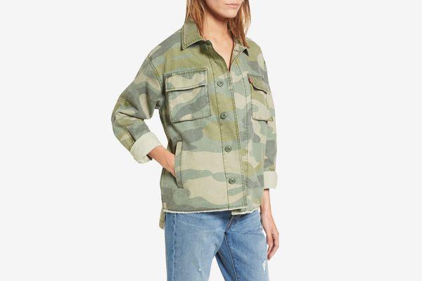 Levi's Oversize Cotton Canvas Camo Shirt Jacket