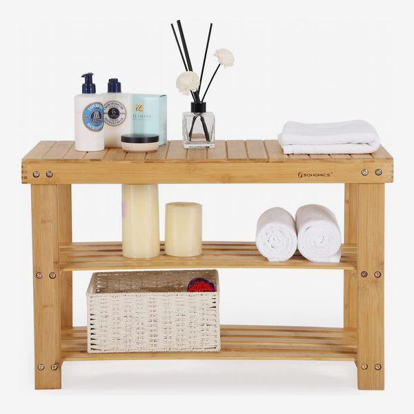 SONGMICS 3-Tier Bamboo Bench and Storage Shelf