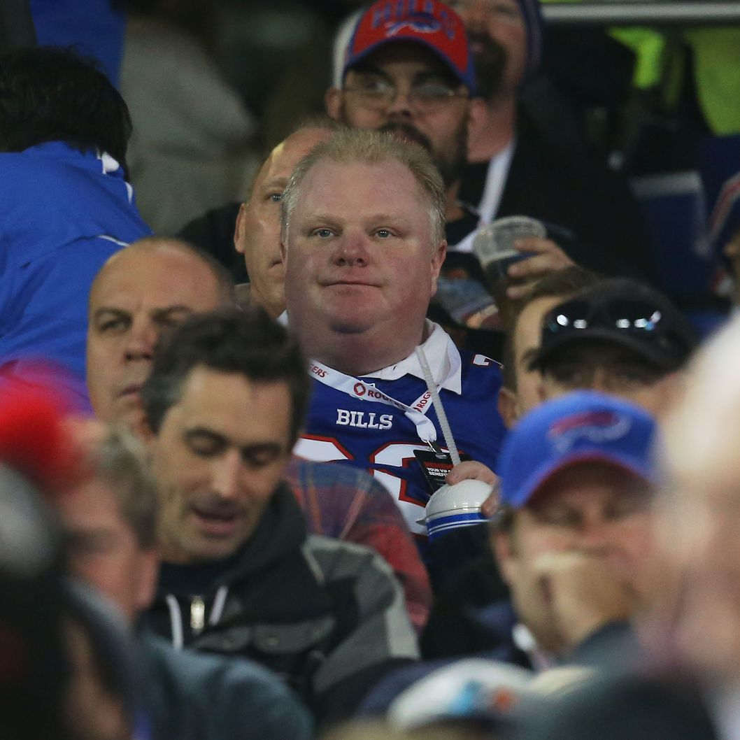 TORONTO, ON - DECEMBER 1: Toronto Mayor Rob Ford watches the Buffalo Bills NFL game against the Atlanta Falcons at Rogers Centre on December 1, 2013 in Toronto, Ontario. (Photo by Tom Szczerbowski/Getty Images)
