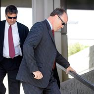 FORT LAUDERDALE, FL - AUGUST 21:   Bradley Birkenfeld (R) walks down the steps of the federal courthouse with his lawyer David E. Meier after he was sentenced to 40 months in prison by the judge on August 21, 2009 in Fort Lauderdale, Florida. Birkenfeld is a former UBS private banker who was a key informant for the U.S. government in tax evasion case against the Swiss bank,  who was helping wealthy Americans dodge income taxes through secret accounts. (Photo by Joe Raedle/Getty Images) *** Local Caption *** Bradley Birkenfeld;David Meier