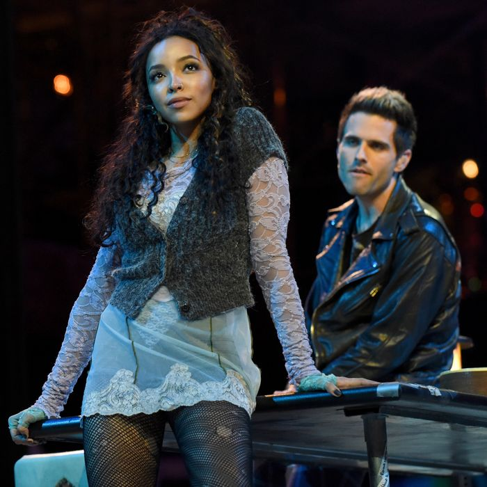 Rent: Live stars Tinashe and Brennin Hunt in a dress rehearsal.