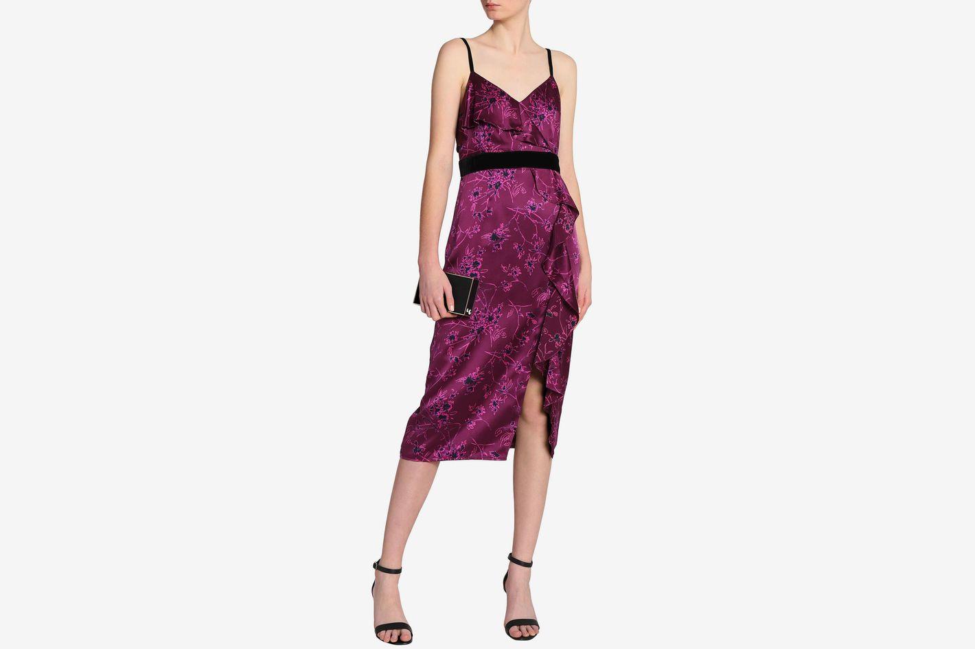 CINQ À SEPT Ruffled floral-print silk-satin dress