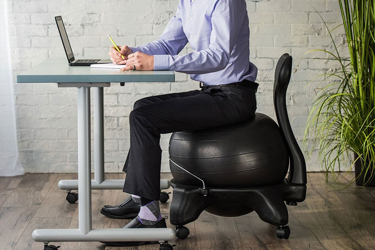 ergonomic desk exercise ball chair gaiam