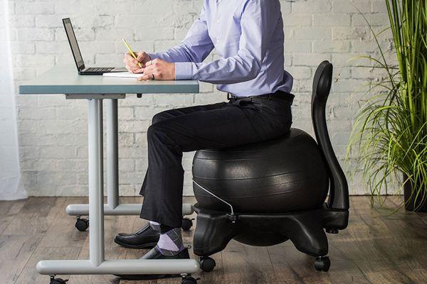 ergonomic desk exercise ball chair gaiam