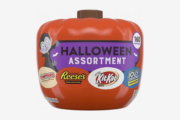 HERSHEY'S Halloween Candy Variety Mix in Pumpkin Bowl, (REESE'S, KIT KAT, WHOPPERS, JOLLY RANCHER)