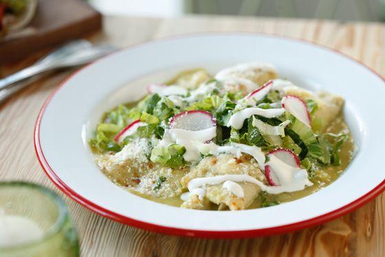 Enchiladas Suiza: green-chile enchiladas with chicken or mixed wild greens.