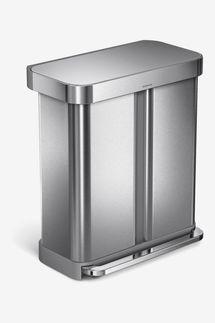 Simplehuman 58L Dual Compartment Rectangular Step Can