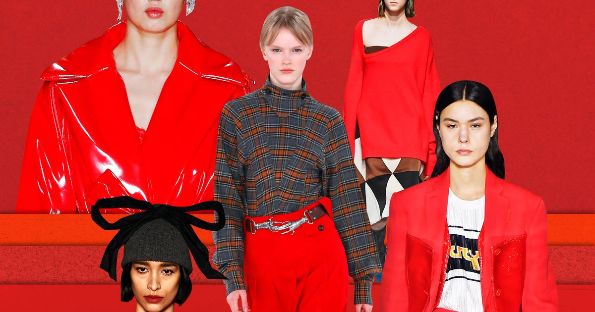 Red Took Over the Runways at London Fashion Week