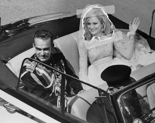 20 Apr 1956, Monte Carlo, Monaco --- Original caption: Monte Carlo, Monaco: Grace Kelly in open car waving to admirers while returning to the palace after the religious wedding with Prince Rainier. April 20, 1956. --- Image by ? Bettmann/CORBIS