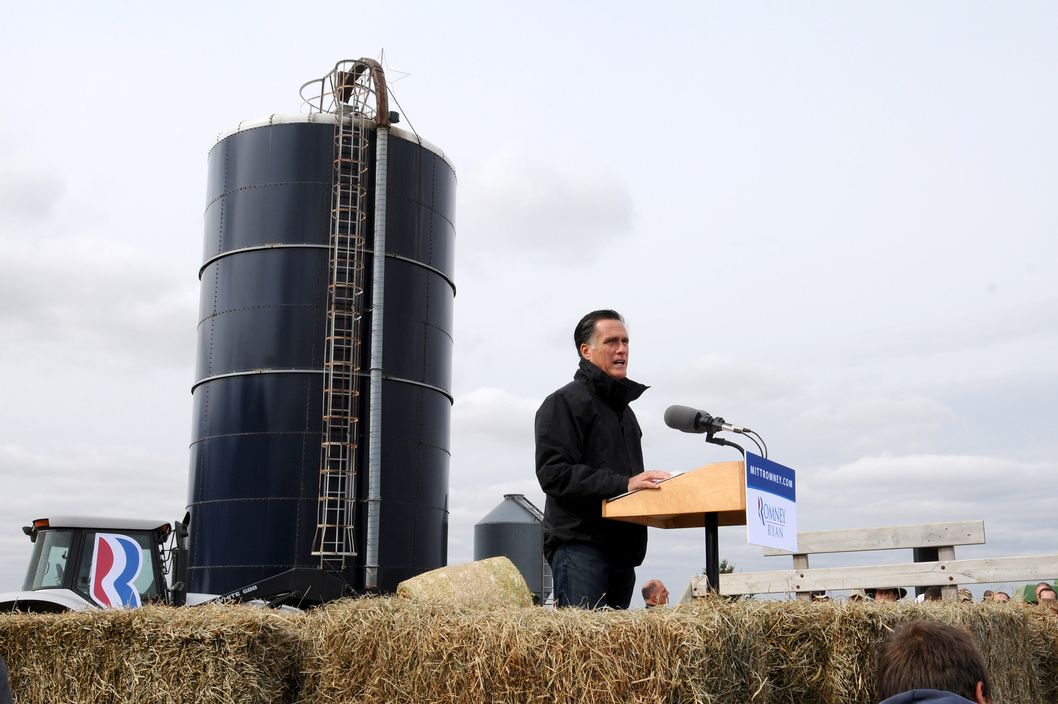 VAN METER, IA - OCTOBER 9:   U.S. Republican presidential candidate, former Massachusetts Gov. Mitt Romney speaks to supporters at a rally on a farm on October 9, 2012 near Van Meter, Iowa. Romney is campaigning in Iowa with four weeks to go before the general election.  (Photo by Steve Pope/Getty Images)