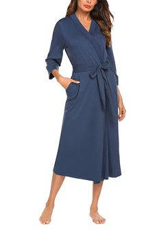MAXMODA Women Kimono Robes Cotton Long Robe Knit Bathrobe