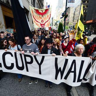 Occupy Wall Street participants march down Fifth Avenue as part of May Day events in New York, May 01, 2012. The Occupy movement that shook the United States last year, spawning similar protests worldwide, announced widespread May Day demonstrations and strikes against social inequality Tuesday. The protests, billed as stretching from New York to California, and from Spain to Australia, raised the possibility of disruption in dozens of urban centers on the date when many countries observe International Workers' Day.
