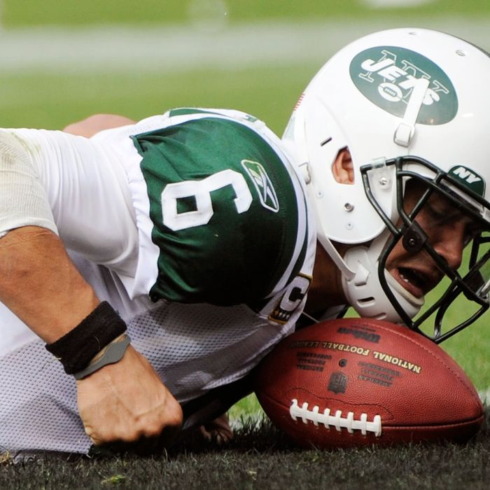 OAKLAND, CA - SEPTEMBER 25: Mark Sanchez #6 of the New York Jets is called down at the one yard line against the Oakland Raiders in the fourth quarter during an NFL football game at the O.co Coliseum September 25, 2011 in Oakland, California. The Raiders won the game 34-24. (Photo by Thearon W. Henderson/Getty Images)