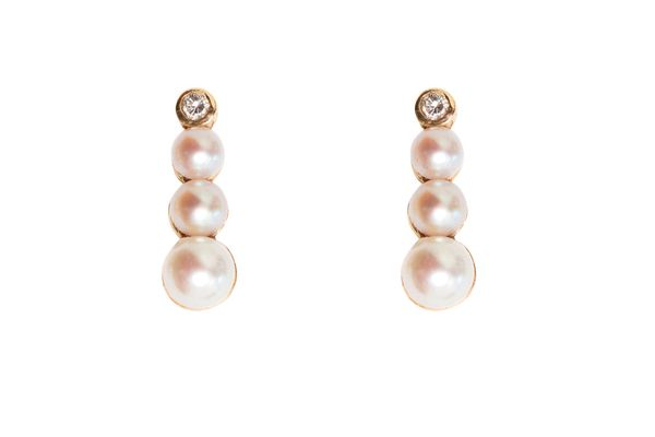 Pearl-and-diamond Spaceship earrings