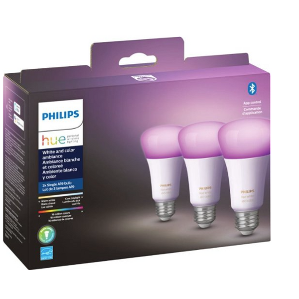 Philips Hue White & Color Ambiance A19 Bluetooth LED Smart Bulbs (Set of 3)