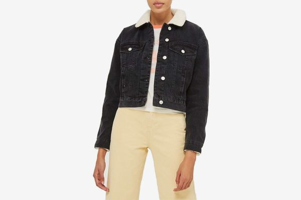 Topshop Tilda Borg Denim Jacket