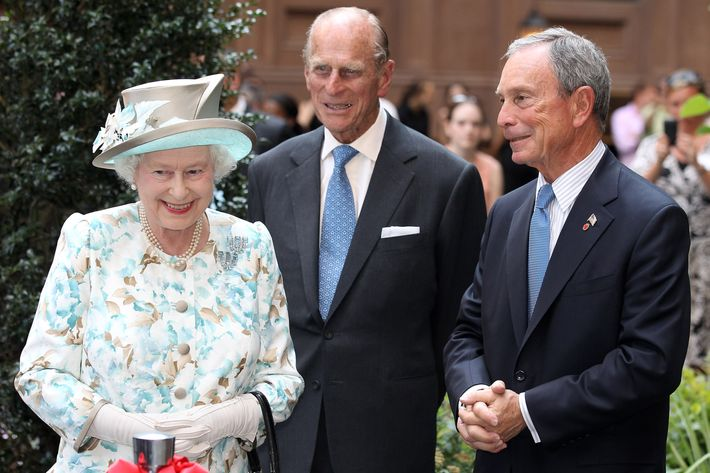 Queen Elizabeth II, Prince Philip, Duke of Edinburgh and Mayor of New York Michael Bloomberg laugh as they visit the British Garden at Hanover Square on July 6, 2010 in New York City. Queen Elizabeth II and Prince Philip, Duke of Edinburgh have just completed an eight day tour of Canada and the visit to New York is final day before the royal couple head back to the UK. After paying a historic visit to the United Nations they will visit ground zero and the British Memorial Garden. The Queen last addressed the United Nations in 1957 and it will be the first time she has visited ground zero.