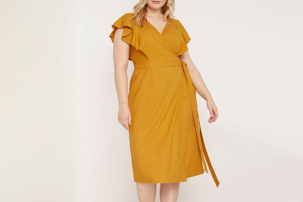 Eloquii Wrap Dress with Flutter Sleeve
