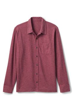 Lands' End Men's Long-Sleeved Slub Jersey Button-Down