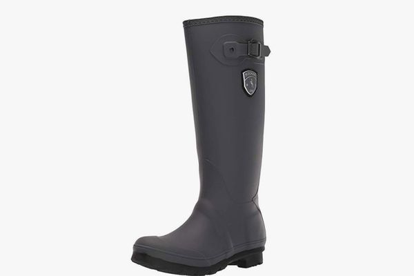 LADIES BROWN MID CALF BOOT WITH STRAP TRIM AND SIDE ZIP SIZE 5