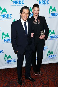 Peter Morton (L) and Linda Evangelista attend the 2013 Natural Resources Defense Council Game Changer Awards at the Mandarin Oriental Hotel on March 14, 2013 in New York City.