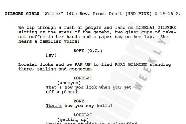 you can read the first page from the gilmore girls revival script right now