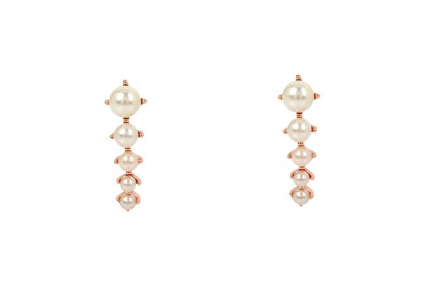 Imitation-pearl crawler earrings in rose-gold tone