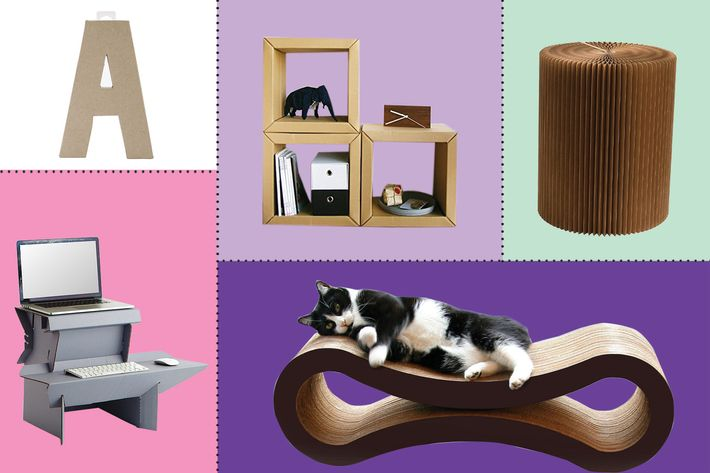 collage of multifunctionable foldable portable kraft paper stool, spark by ergodriven, paper maker optional assembly cardboard storage, petfusion ultimate cat scratcher lounge, paper mache letter - strategist best home decor and best cardboard furniture
