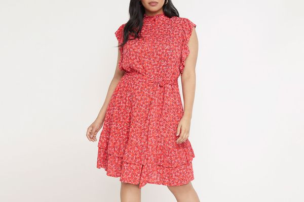 Eloquii Ruffled Mock-Neck Print Dress