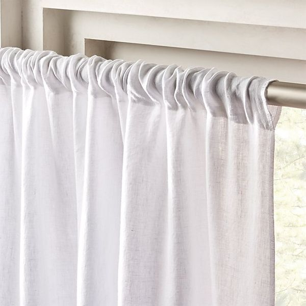 "CB2 White Linen Curtain Panel 48"" x 48"""