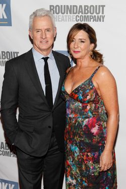 "NEW YORK - MARCH 12: Actor John Slattery and his wife actress Talia Balsam attend The Roundabout Theatre 2012 Spring Gala ""From Screen to Stage"" dinner and auction at the Hammerstein Ballroom on March 12, 2012 in New York City.  (Photo by Amy Sussman/Getty Images)"