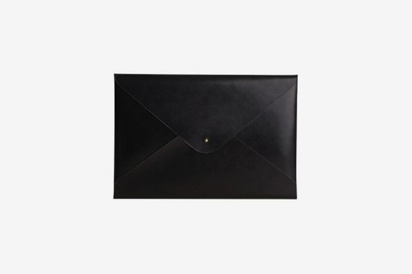 Paperthinks 9 x 13 Inches Shiny Black Recycled Leather File Folder