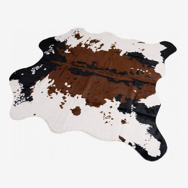Faux-Fur Cow-Print Rug