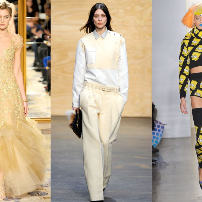 Looks from Marchesa, Proenza Schouler, and Jeremy Scott.