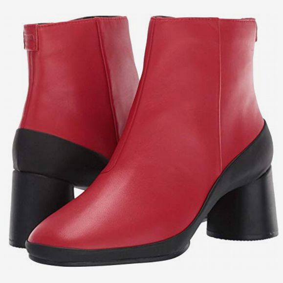 Short Camper Upright Boots in vivid red with black block heels and black trim. 33 Things on Sale You'll Actually Want to Buy: From Adidas to Le Creuset - The Strategist