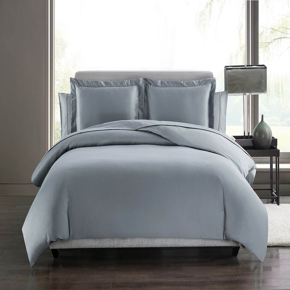 Highline Bedding Co. Sullivan Cotton Sateen Solid Duvet Cover Set in Mineral