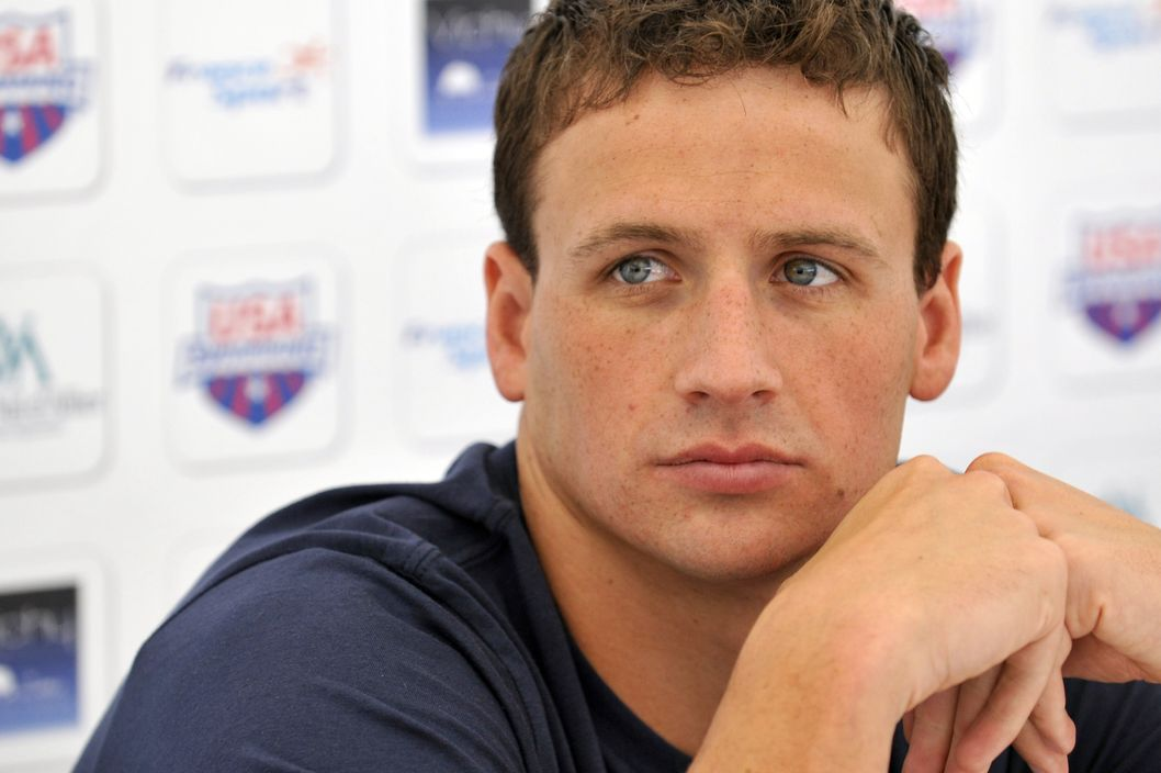 US swimmer Ryan Lochte attends a press conference after a training session, on July 21, 2012, during a training camp of the US swimming team in Bellerive-sur-Allier, central France, six days ahead of the London Olympic Games.