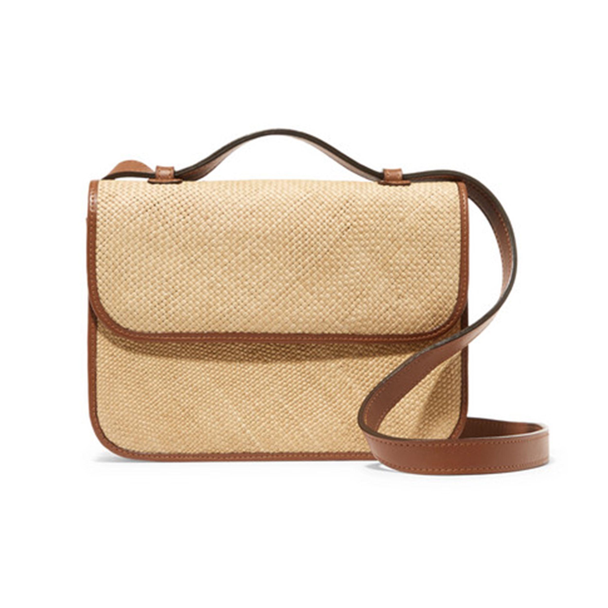 Iraca raffia and leather shoulder bag