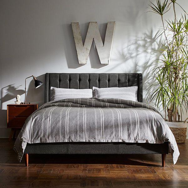 Rivet Kyler Mid-Century Upholstered Tufted Queen Bed