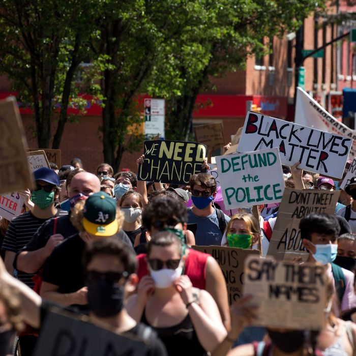 Protesters in Brooklyn, New York, march against police violence.