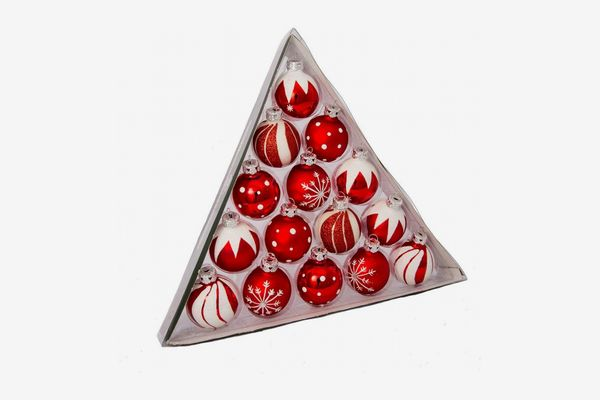 Kurt Adler 1.57-Inch Red/White Decorated Glass Ball Ornament, Set of 15