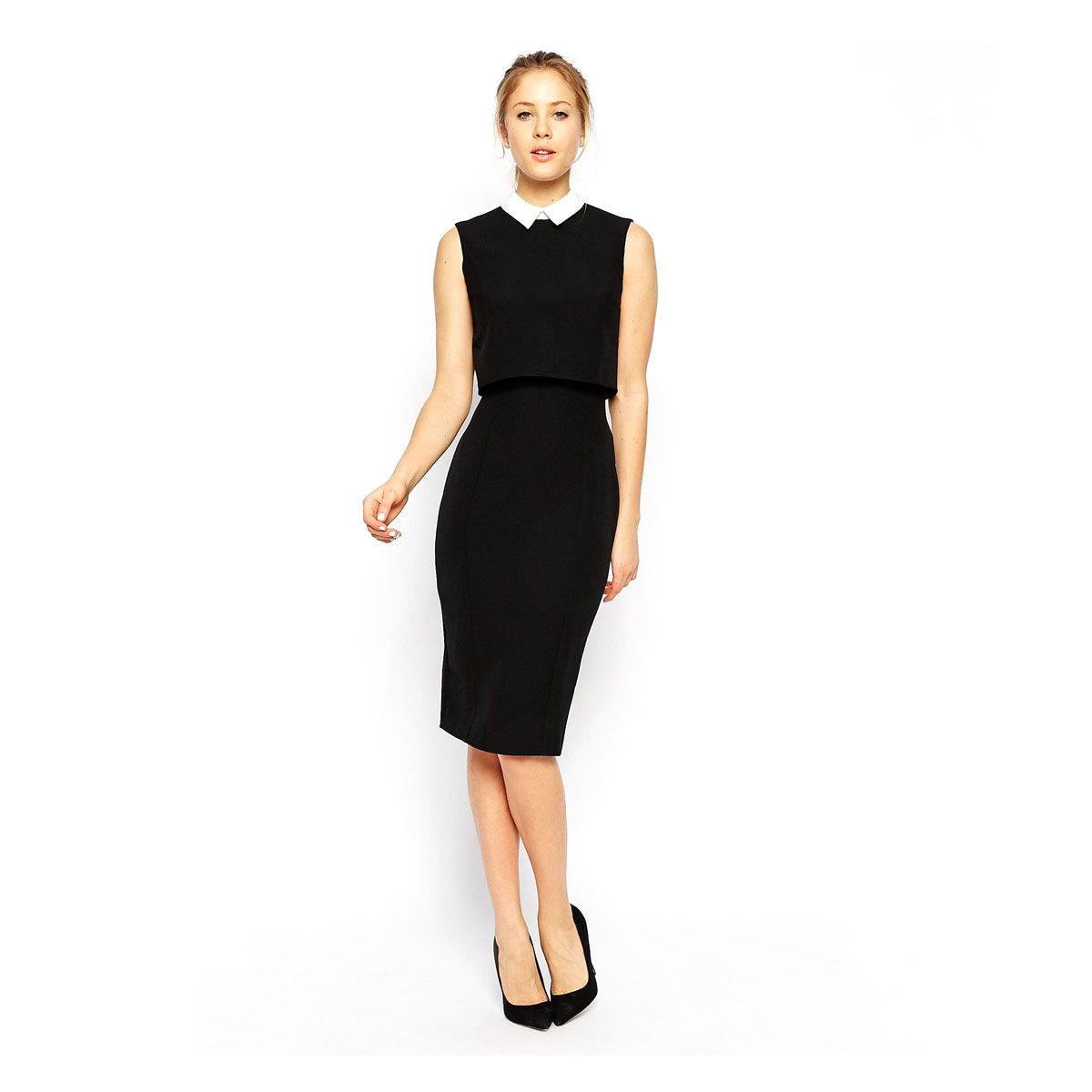 The Conservative Office Contrast Collar Dress 15 Work