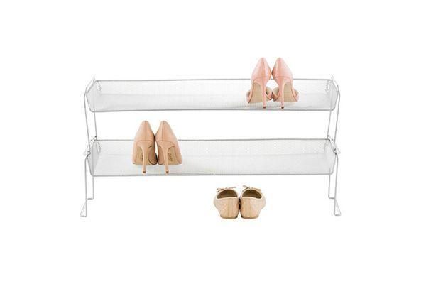 Silver Mesh Stackable Shoe Shelf