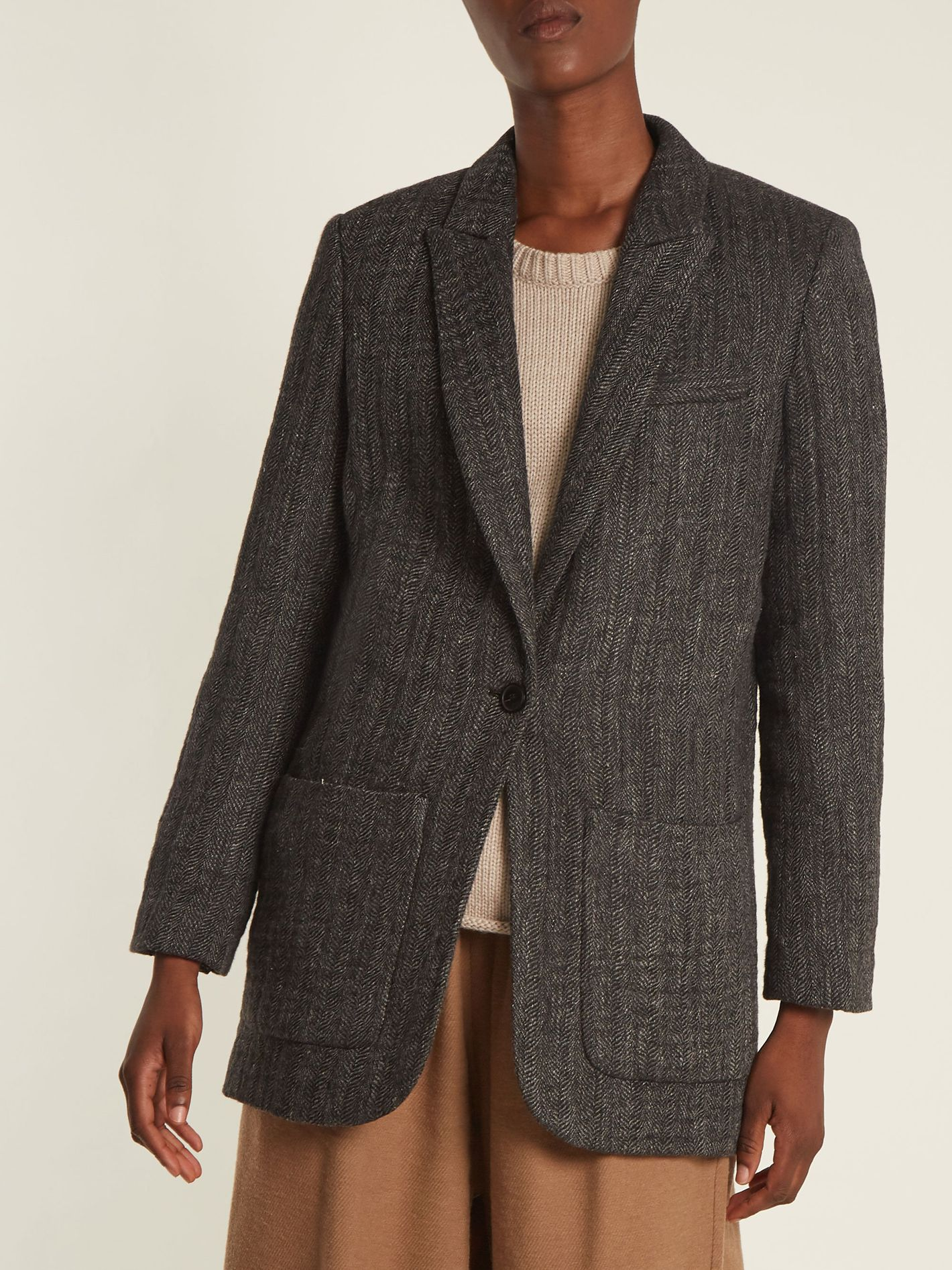 Masscob single-breasted herringbone blazer