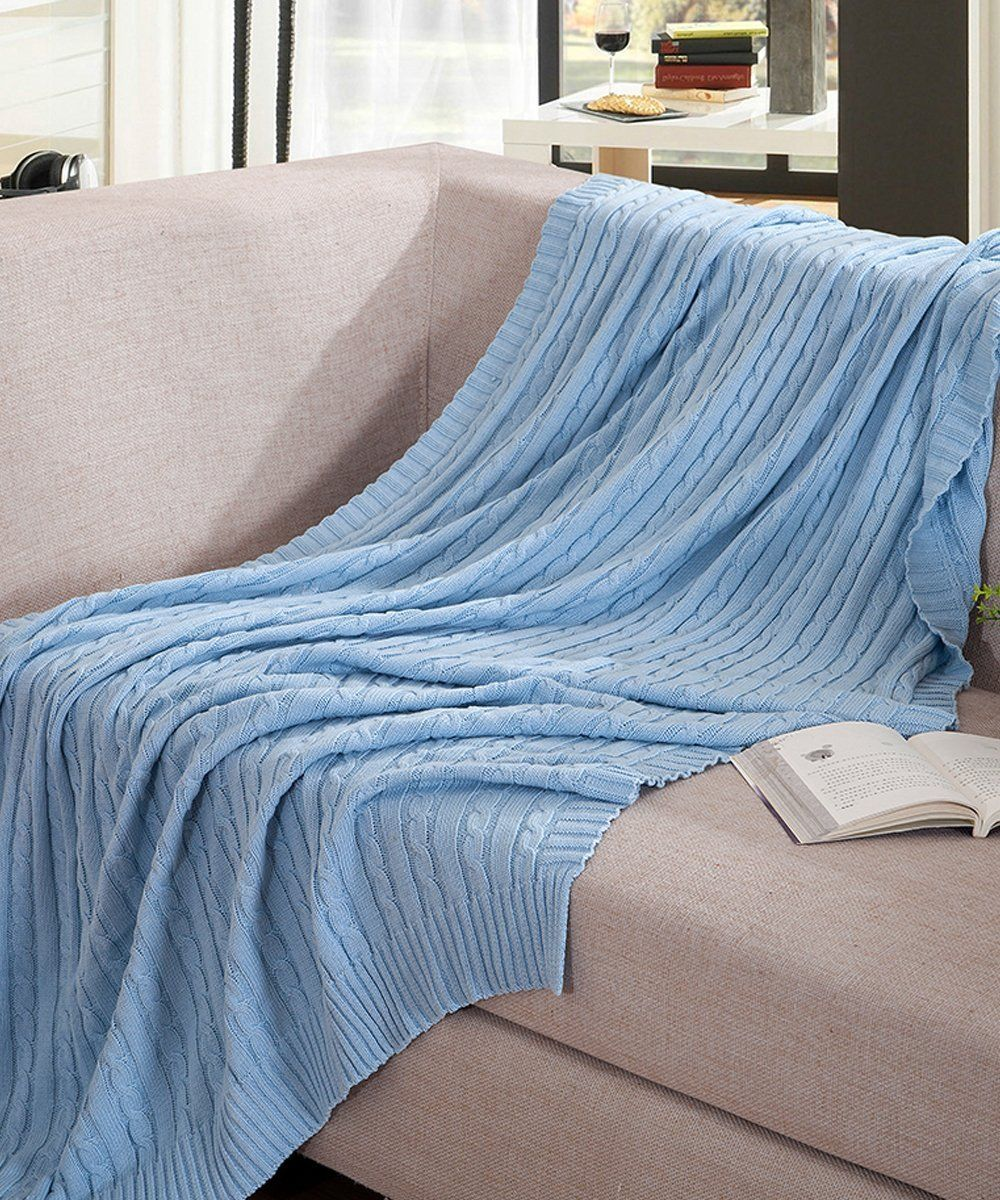 "NTBAY 100% Cotton Cable Knit Throw Blanket Super Soft Warm Multi Color (51""x 67"", Light Blue)"