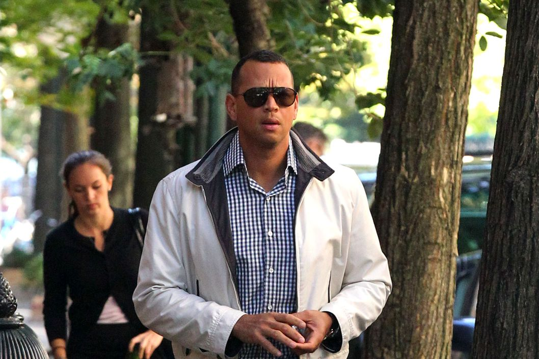 New York Yankees third baseman Alex Rodriguez, who is recovering from a fractured hand, gives the thumbs up in New York City.