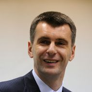 Russian metals tycoon and US basketball team owner Mikhail Prokhorov attends his news conference in Moscow on December 12, 2011. Russian metals tycoon and US basketball team owner Mikhail Prokhorov said Monday he intended to challenge Prime Minister Vladimir Putin in next year's presidential elections. AFP PHOTO / YURI KADOBNOV (Photo credit should read YURI KADOBNOV/AFP/Getty Images)