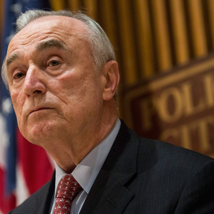 New York Police Department Commissioner Bill Bratton speaks at a press conference regarding two police officers who were killed on Saturday on December 22, 2014 in New York, NY.