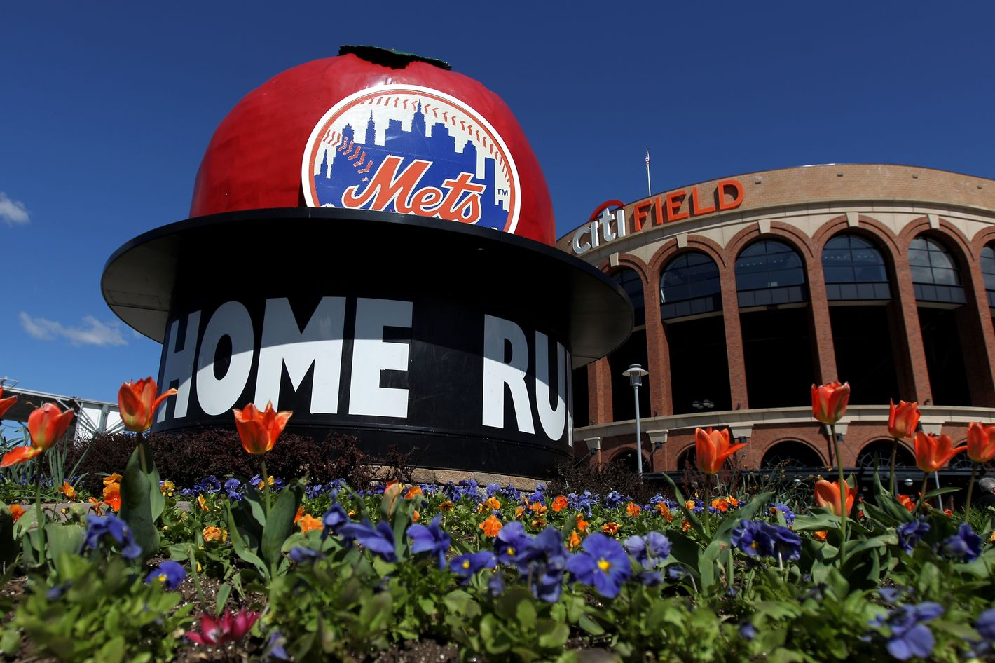 A general exterior view of the Mets' Home Run Big Apple outside the stadium prior to the New York Mets hosting the Atlanta Braves during their Opening Day Game at Citi Field on April 5, 2012 in New York City.